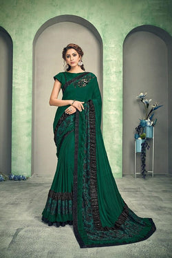 Green and black jacquard saree STC3012