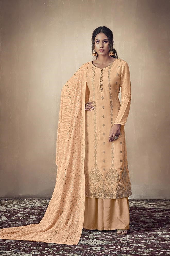 Designer Straight Suit In Light Orange Color STC 2038