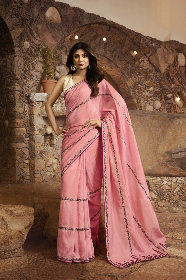 Designer Saree In Pink Paired With Off-White Blouse STC3111