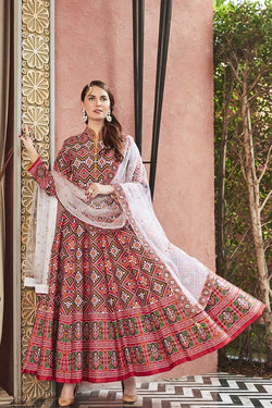 Designer Readymade Floor Length Suit In Maroon Color STC 2125