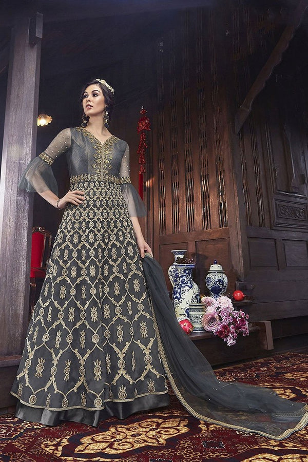 Designer Indo-Western Suit In All Over Grey Color STC4060
