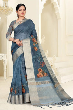 Designer Saree In Dark Grey Color STC3035