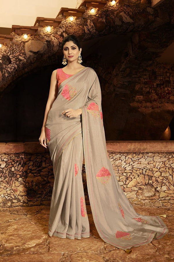 Designer Saree In Dusty Grey Paired With Contrasting Pink Blouse STC3118