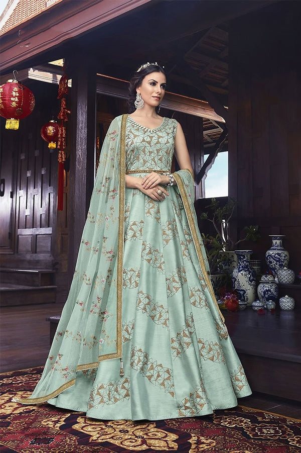 Designer Floor Length Suit In Aqua Blue Color STC4055
