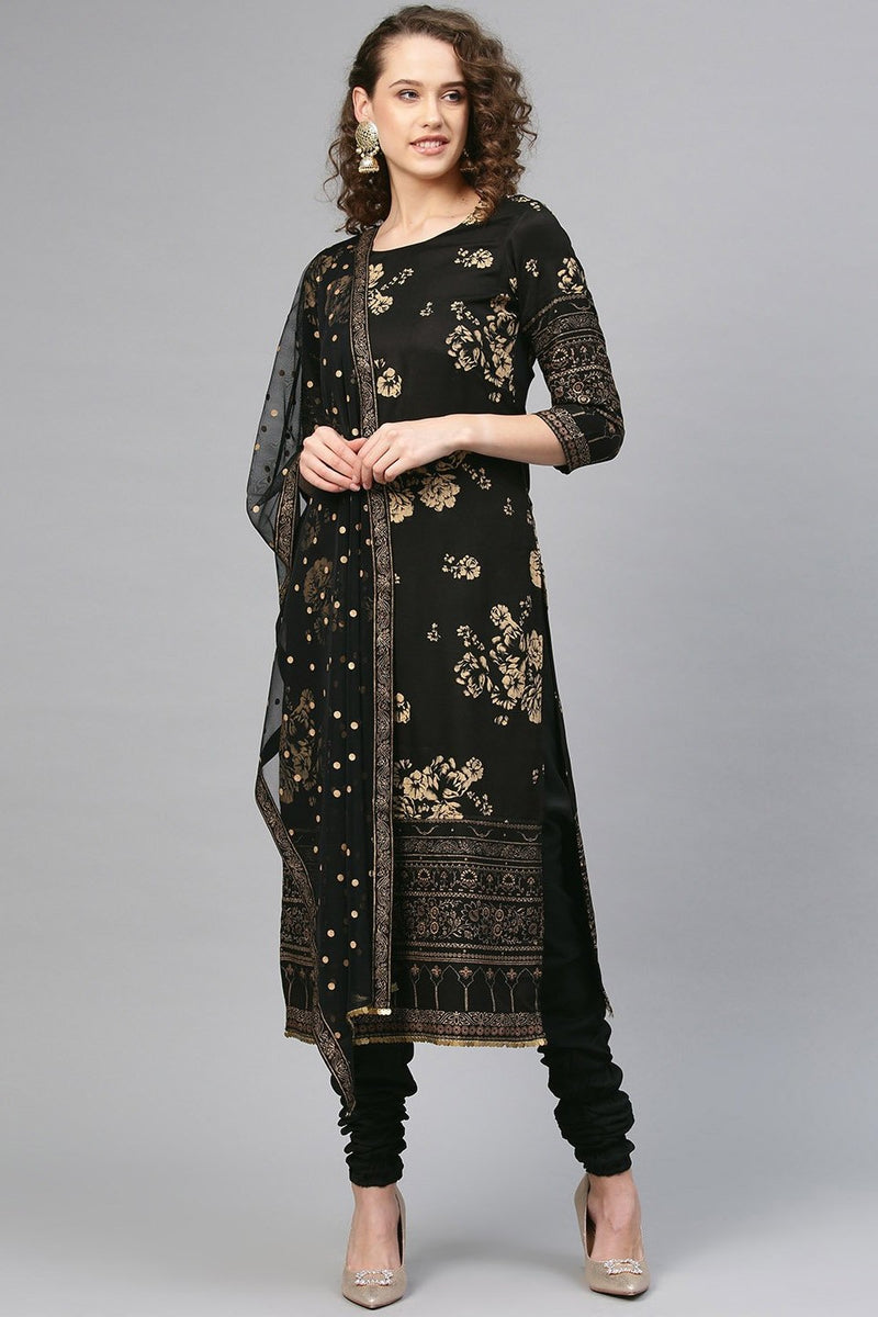 designer Readymade Suit In All over Black Color STC 2116