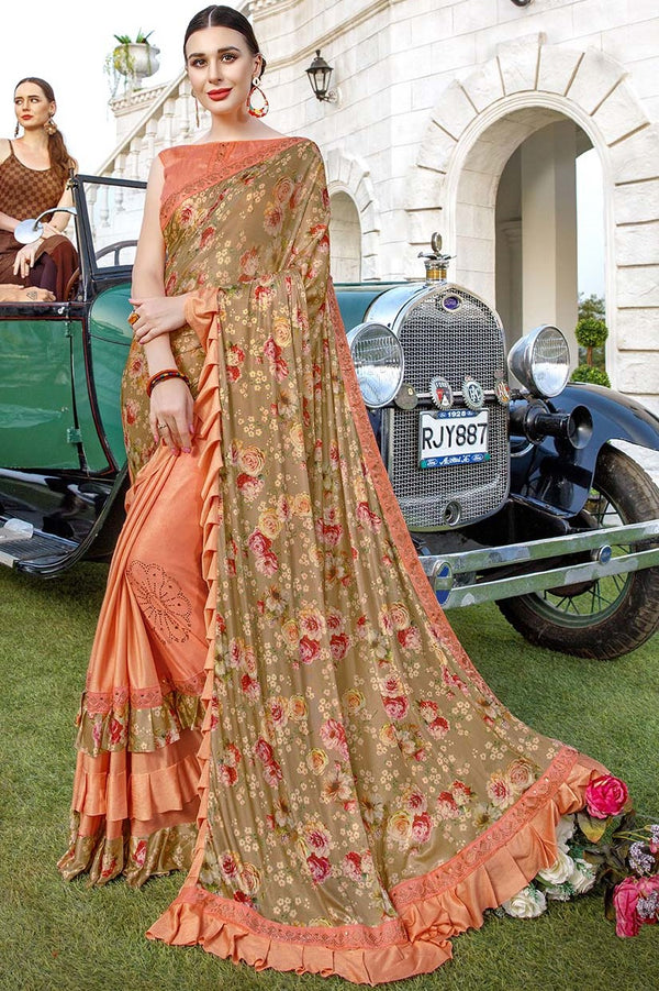 Beautiful Designer Saree In Beige And Light Orange Color Paired With Light Orange Blouse STC3131