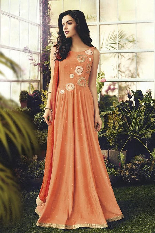 Designer Floor Length Suit In Orange Color STC 2101