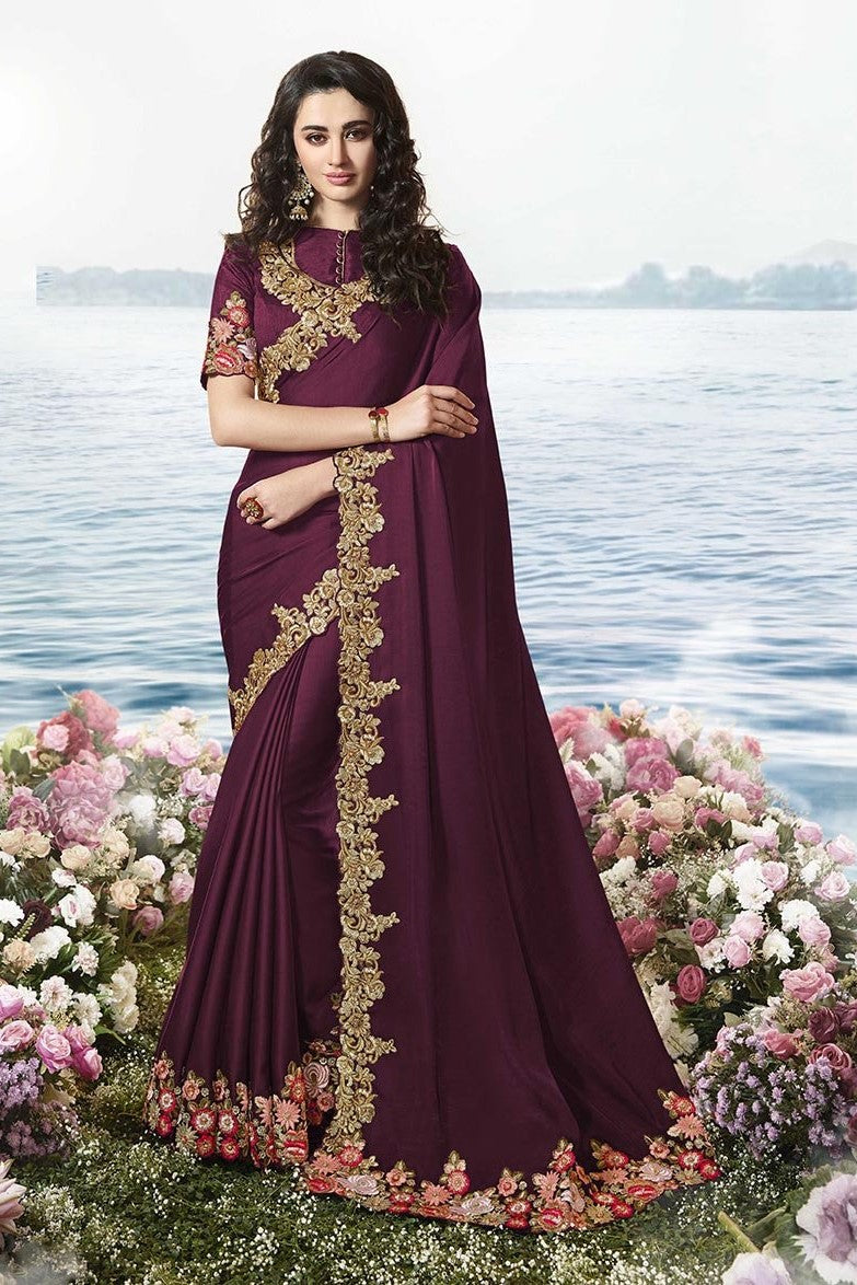 Embroidered Designer Saree In Wine Paired With Wine Blouse STC3102