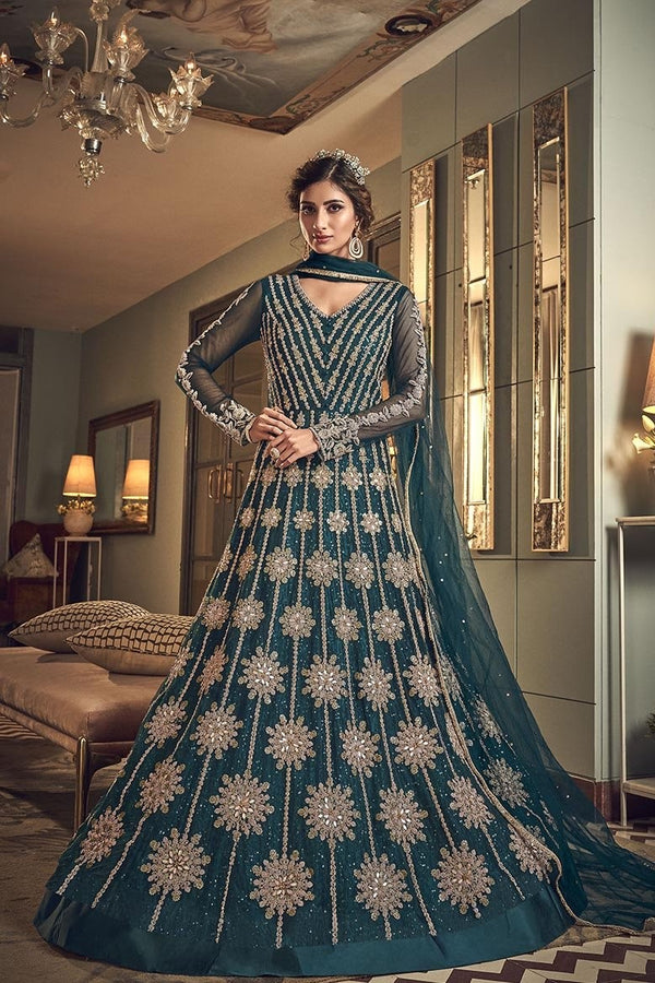 Designer Floor Length Suit In Teal Blue Color STC4038