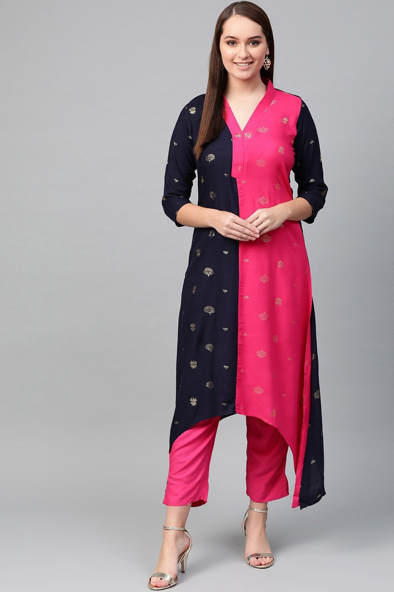 Designer Kurta Set In Dark Pink And Navy Blue STC 2111