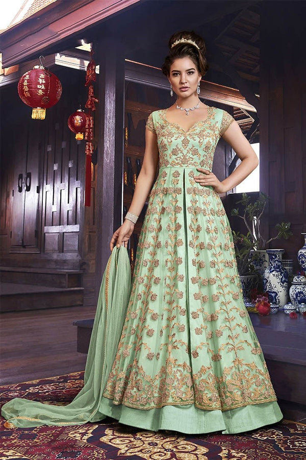 Designer Indo-Western Suit In Light Green Color STC4061