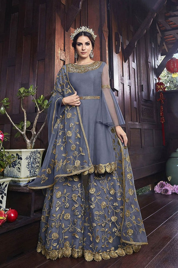 Designer Heavy Sharara Suit In Dark Grey Color STC4056