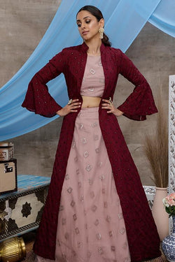 Designer Indo Western Lehenga Choli In Dusty Pink Color Paired With Maroon Colored Jacket STC0018