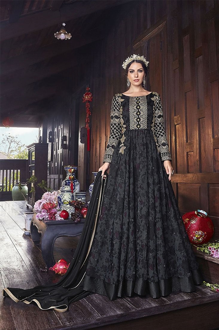 Designer Floor Length Suit In All Over Black Color STC4058