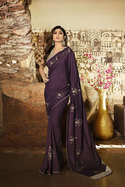 Designer Saree In Wine Paired With Grey Blouse STC3106