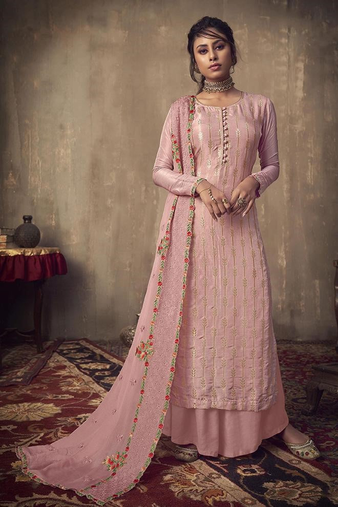 Designer Straight Suit In Light Pink Color STC 2003