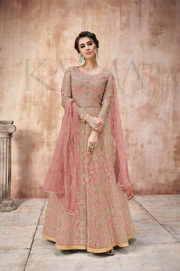 Designer Floor Length Suit In All Over Pink Color STC4063