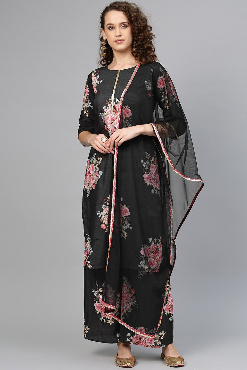 designer Readymade Suit In All Over Black Color STC 2112