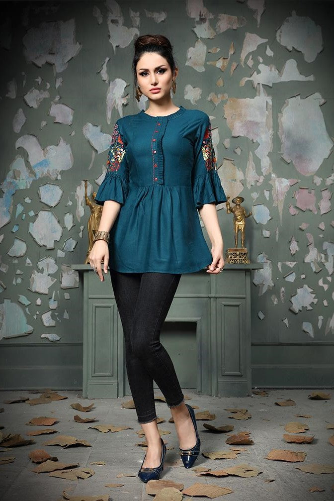 Designer Top In Blue STC9018