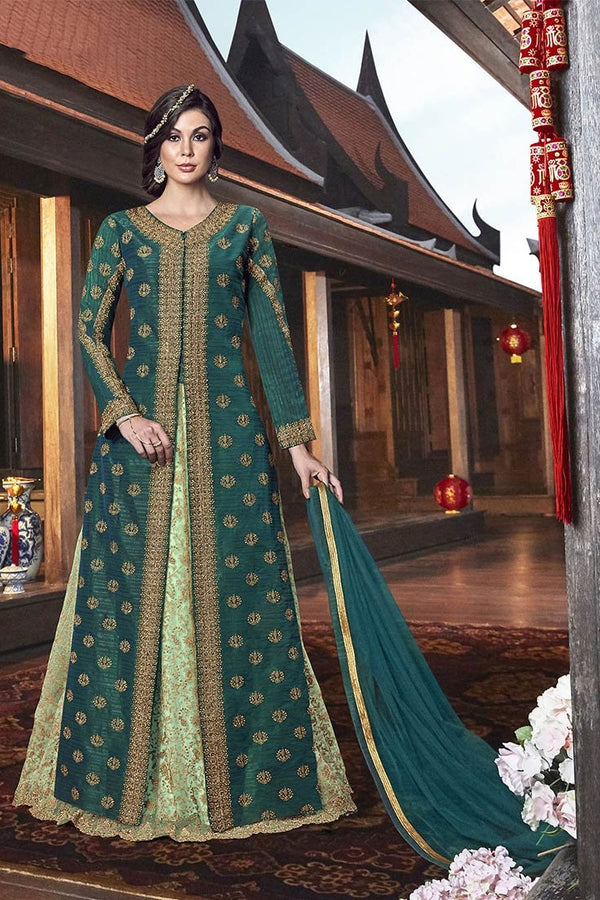 Indo-Western Dress In Shades Of Green STC4057