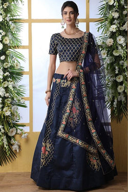 Designer Lehenga Choli In All Over Navy Blue Color STC1026