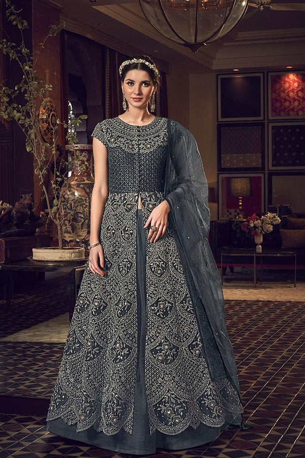 Beautiful Grey Colored Two Way Designer Suit STC4044