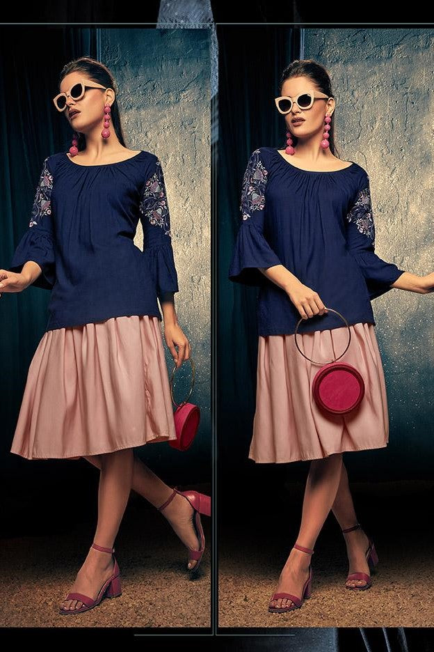 Fancy Top In Navy Blue Color STC9113