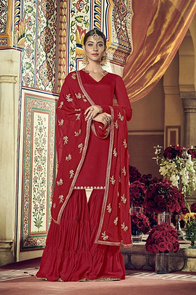 Designer Sharara Suit IN red colour STC 2015