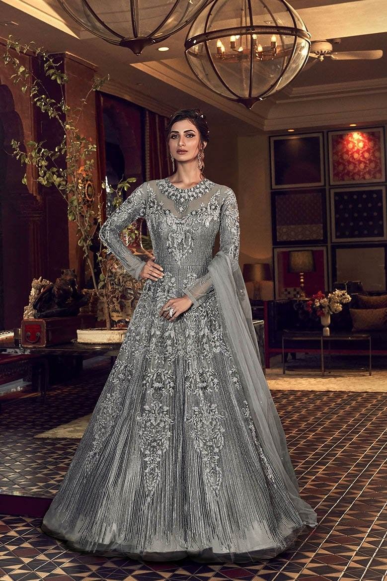 Designer Floor Length Suit In Grey Color STC4042