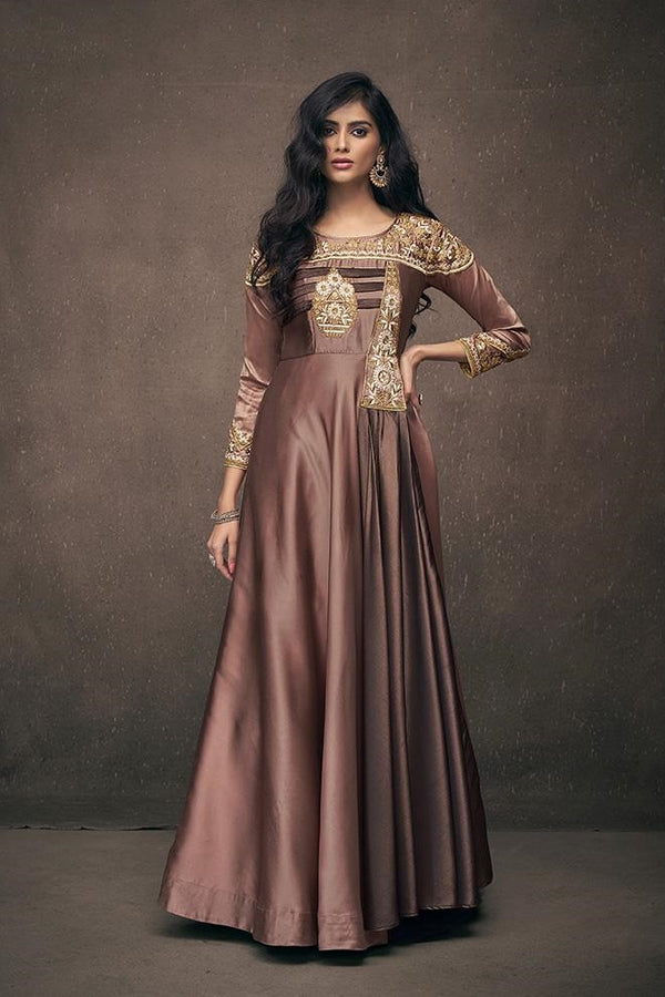 Designer Gown In Brown Color Fabricated On Satin Silk STC4035
