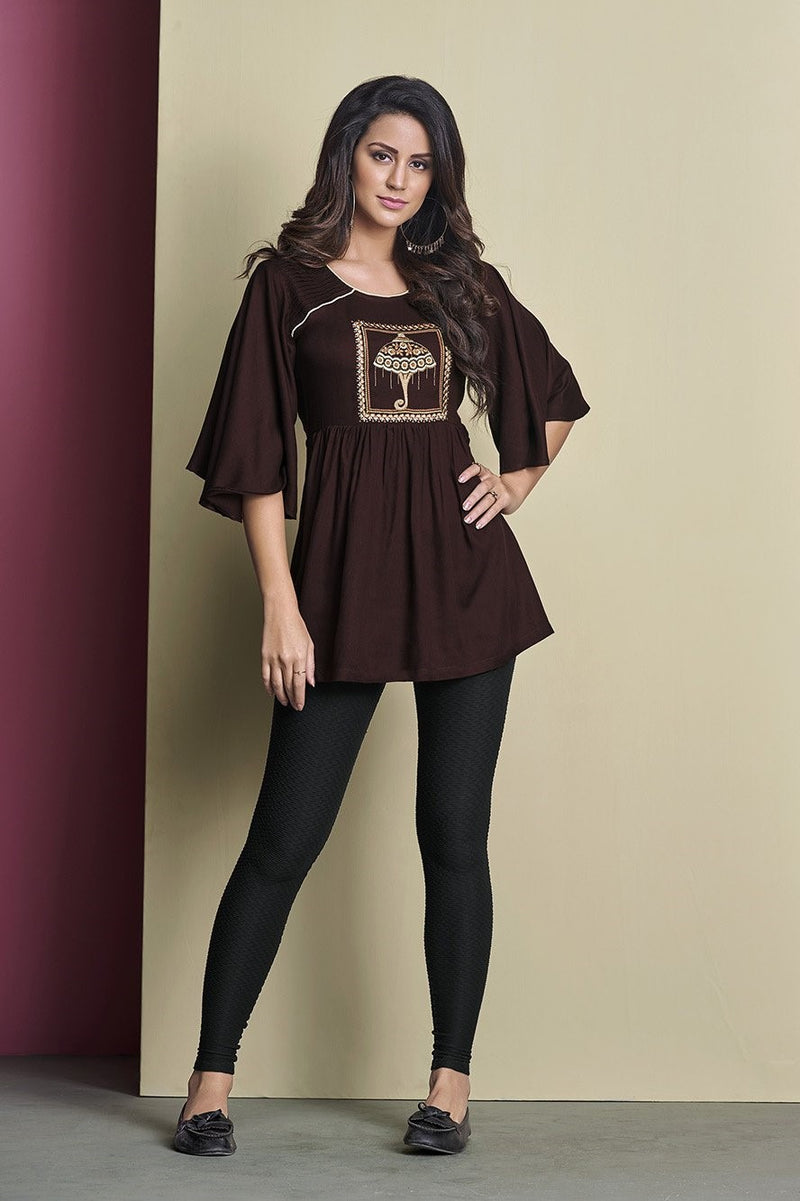 Designer Top In Brown Color STC9042