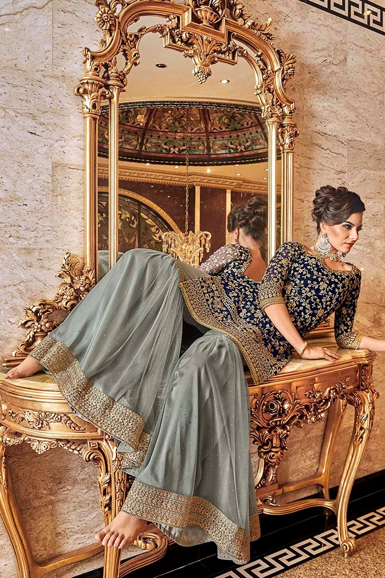Designer Sharara Suit In Navy Blue Top And Dupatta Paired With Contrasting Grey Bottom STC4012