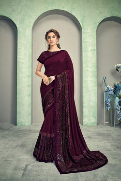 Deep wine saree STC3006