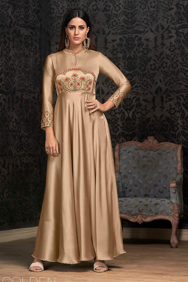 Designer Gown Is Here In Beige Color Fabricated On Satin Silk STC4036