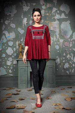 Designer Top In Maroon STC9015