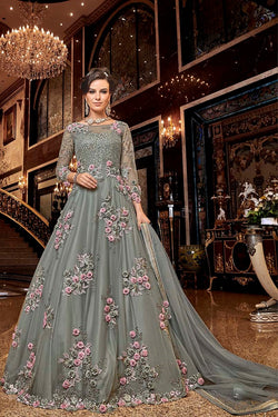 Designer Floor Length Suit In Grey Color STC4001