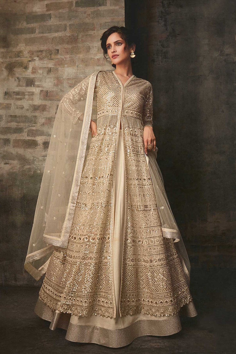 Designer Indo-Western Suit In All Over Cream Color STC4049
