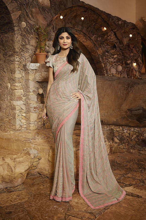 Designer Saree In Grey Paired With Grey Blouse STC3114