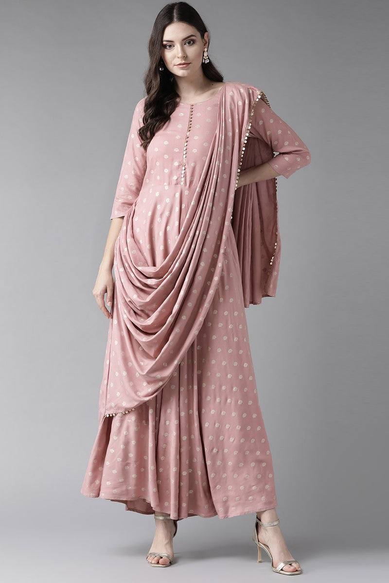 Designer Indo-Western Dress In Baby Pink Color STC9098