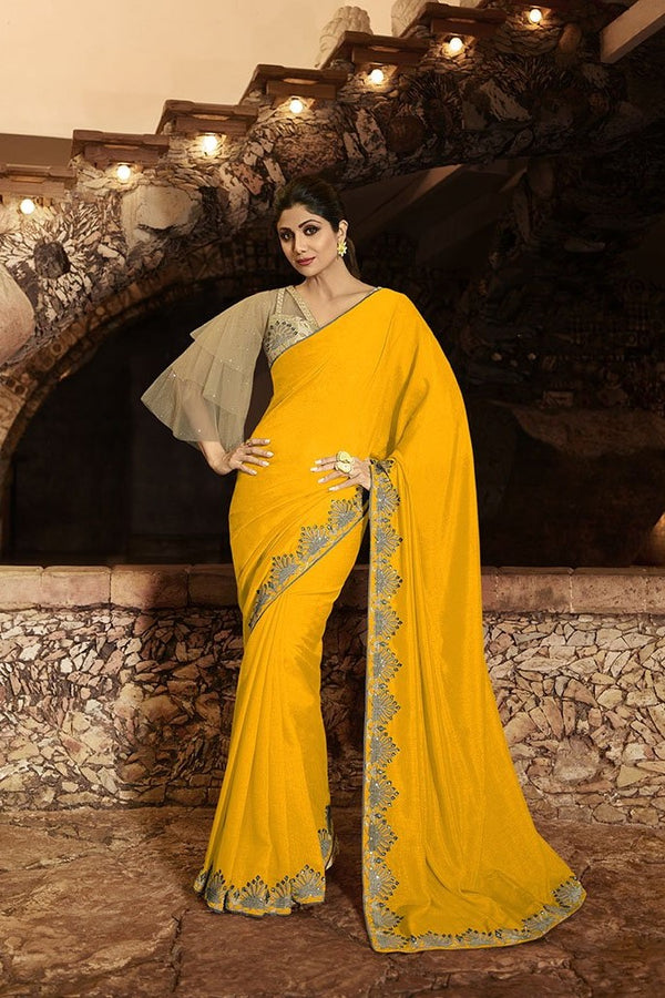 Designer Saree In Yellow Paired With Beige Blouse STC3112