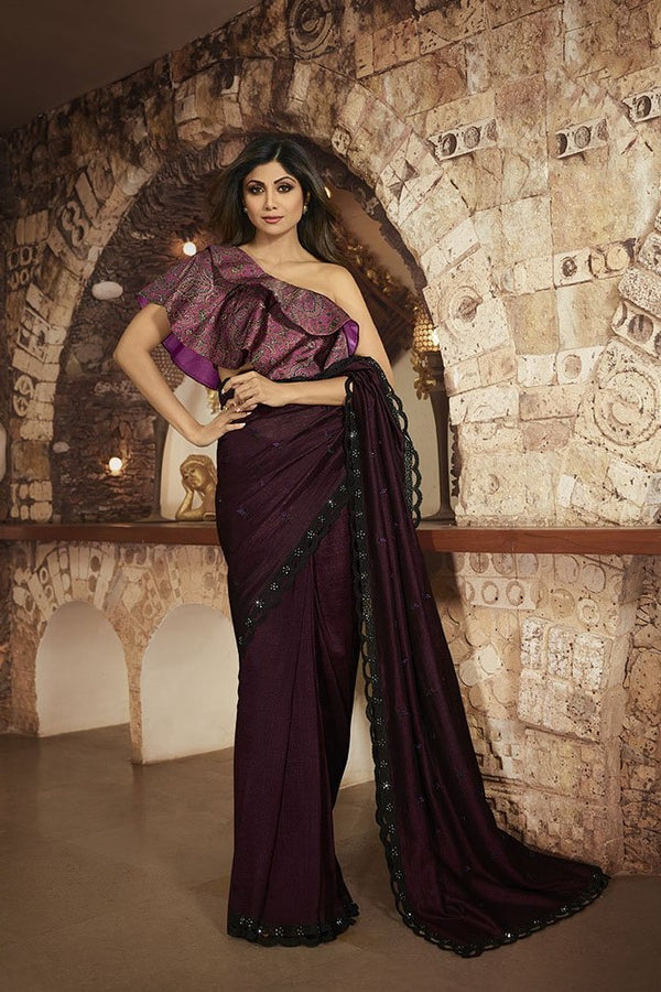 Designer Saree In Designer Saree In Dark Wine Paired With Contrasting Purple Blouse STC3119 Paired With Contrasting Purple Blouse STC3119