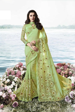 Designer Saree In Green Paired With Green Blouse STC3103