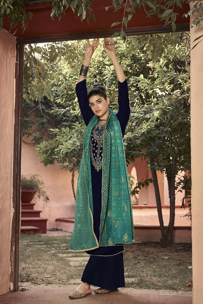 Designer Straight Suit In Navy Blue Color STC 2014