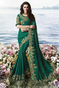 Embroidered Designer Saree In Dark Teal Green Paired With Dark Teal Green Blouse STC3100