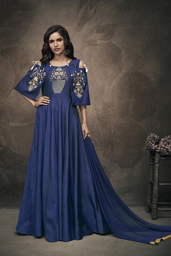 Designer Gown In Navy Blue Color Which Comes Navy Blue Colored Dupatta STC4033
