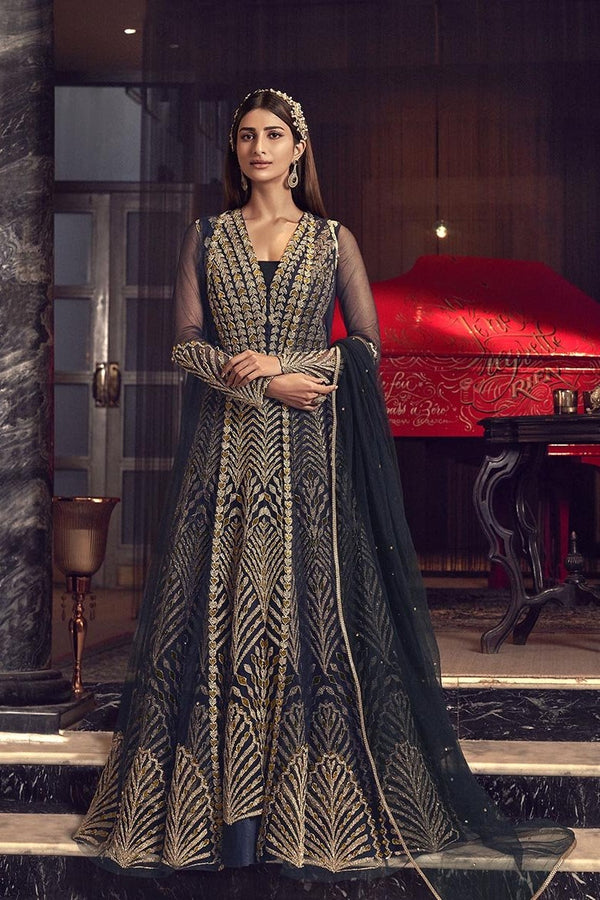 Designer Indo-Western Suit In Navy Blue Color STC4040