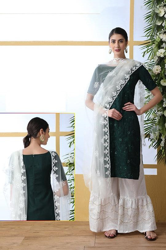 Designer Suit In Pine Green Color STC 2091