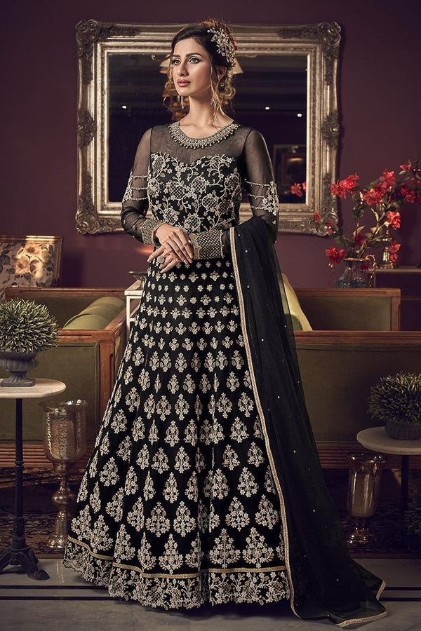 Designer Floor Length Suit In Black Color STC4048