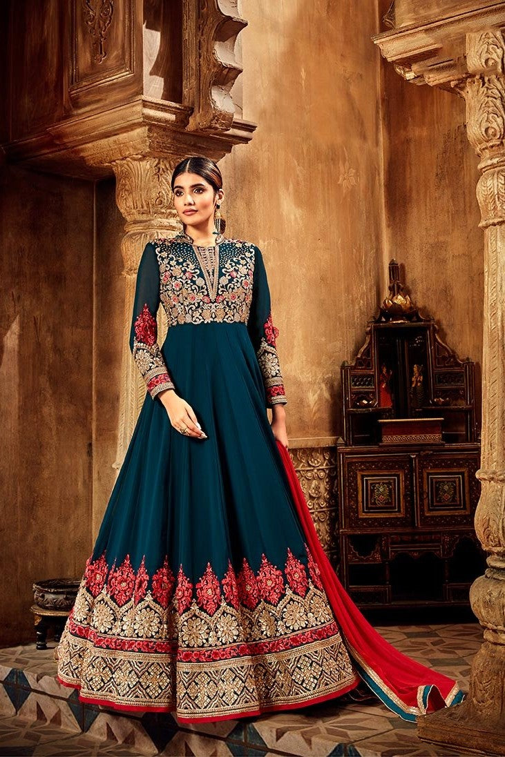 Designer Floor Length Suit In New Shade Of Blue STC 2122
