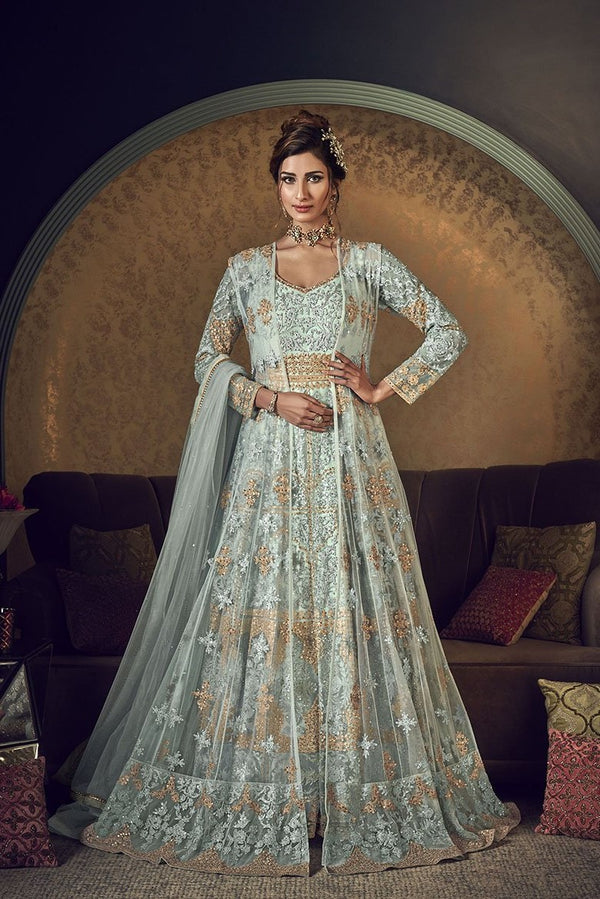 Designer Indo-Western Suit In Baby Blue Color STC4045
